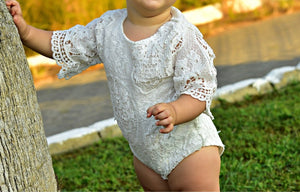 Baby Girls Infant Lace ruffles Sleeve Lace White Romper Baby > Rompers and Jumpsuits > White - KidNappy