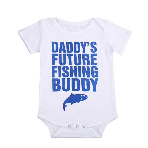 Daddy's future fishing buddy Romper Summer Newborn Baby Letter Printed Cotton Fish Romper