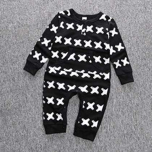 KidNappy Baby > Rompers and Jumpsuits 6 - 9 Months Autumn Spring cotton baby boys long sleeve X printed baby coveralls