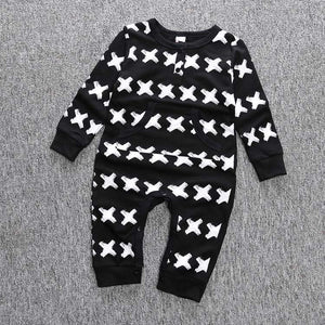 KidNappy Baby > Rompers and Jumpsuits Autumn Spring cotton baby boys long sleeve X printed baby coveralls