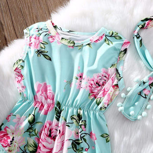 KidNappy Baby > Rompers and Jumpsuits > Floral 2Pcs/Set Infant Baby Girl Floral Romper Sleeveless Tassel +Headband Sunsuit