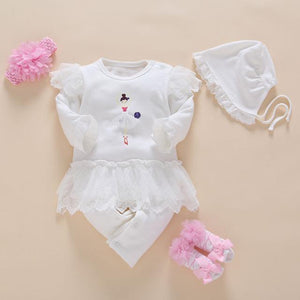 100%cotton Baby White Girls Rompers Long Sleeve Summer Lace 4pcs/set Coveralls Newborn Set Baby > Rompers and Jumpsuits - KidNappy