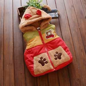KidNappy Jackets Red / 2 Years New Cartoon Bear Baby Boys Jacket Kids Winter Keeping Warm Cotton Hoodies Coat Children Casual Outerwear Clothing