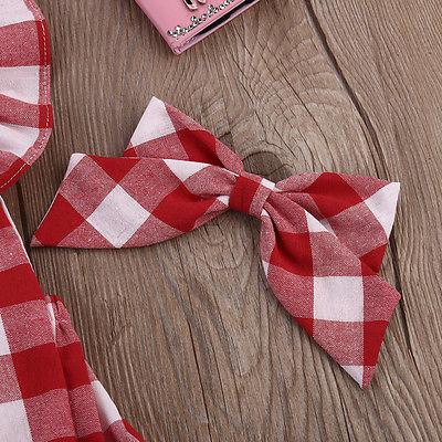 446cfddb9b1c Newborn Infant Kids Baby Girl Red Plaid Romper Jumpsuit With Headband  Outfit Clothes 0-18M