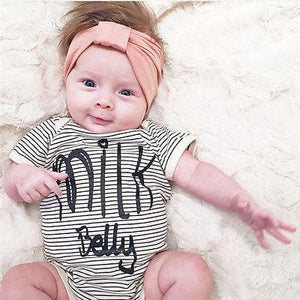 Milk Belly Romper Baby Short Sleeve Cotton Infant Striped Onesie Baby > Rompers and Jumpsuits - KidNappy