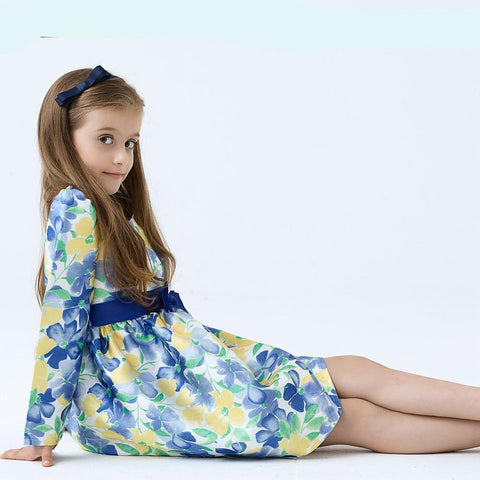 Girls Children Dress Blue Long Sleeved floral Cotton kids dress 2 Years - 9 Years Girl > dresses - KidNappy