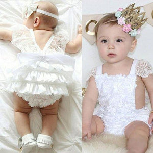 Baby Girl Clothes Lace Floral Bodysuit Sunsuit Outfits Lovely White Lace Baby Bodysuits 0-18 Months for Birthday Party Bodysuits Baby > Rompers and Jumpsuits - KidNappy