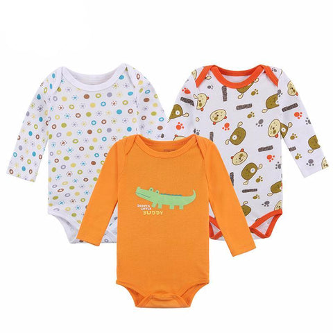 3 PCS/lot Long Sleeve Baby Unisex Rompers Cartoon Animal Printed Baby > Rompers and Jumpsuits - KidNappy