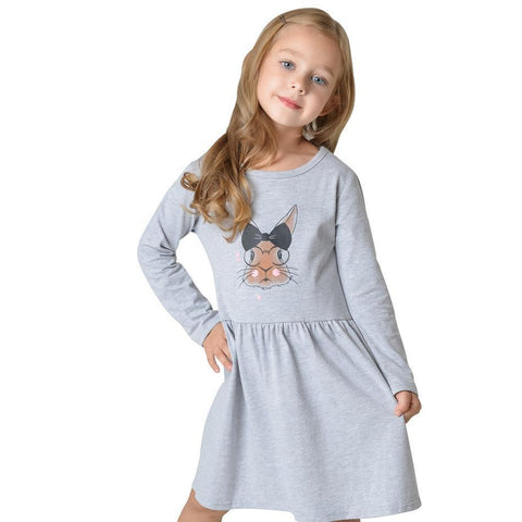 Kids Dress for Girl Toddler  Bunny Girl Dress Long Sleeve Cotton Dress Girl > dresses - KidNappy