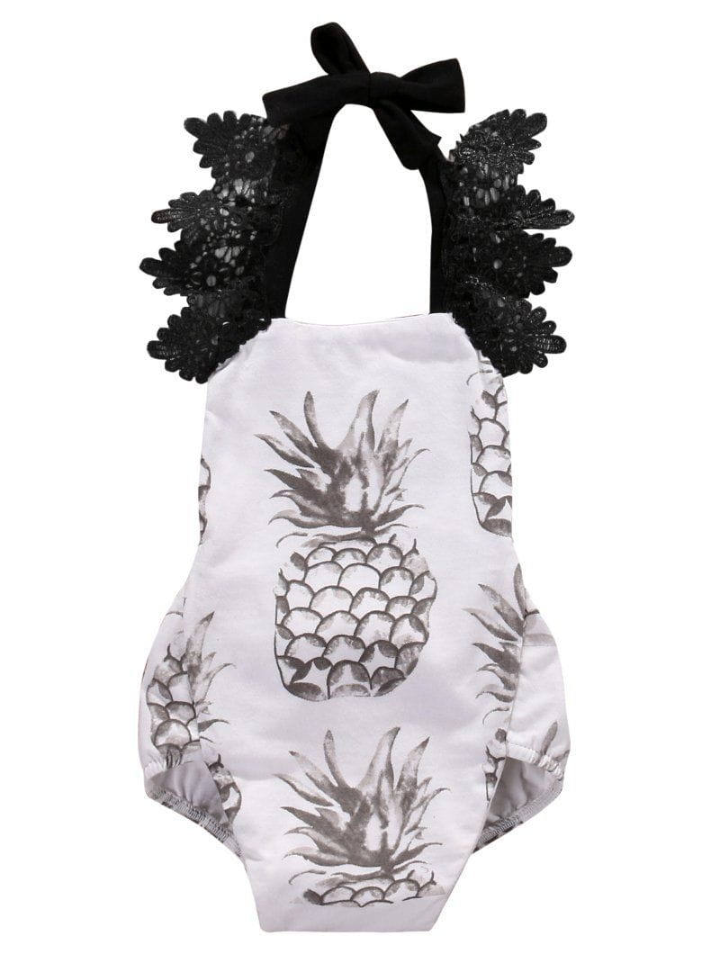 f117ed2fb7c2 Cute Baby Girls Lace Fruit pineapple Romper halter Lace Jumpsuit ...