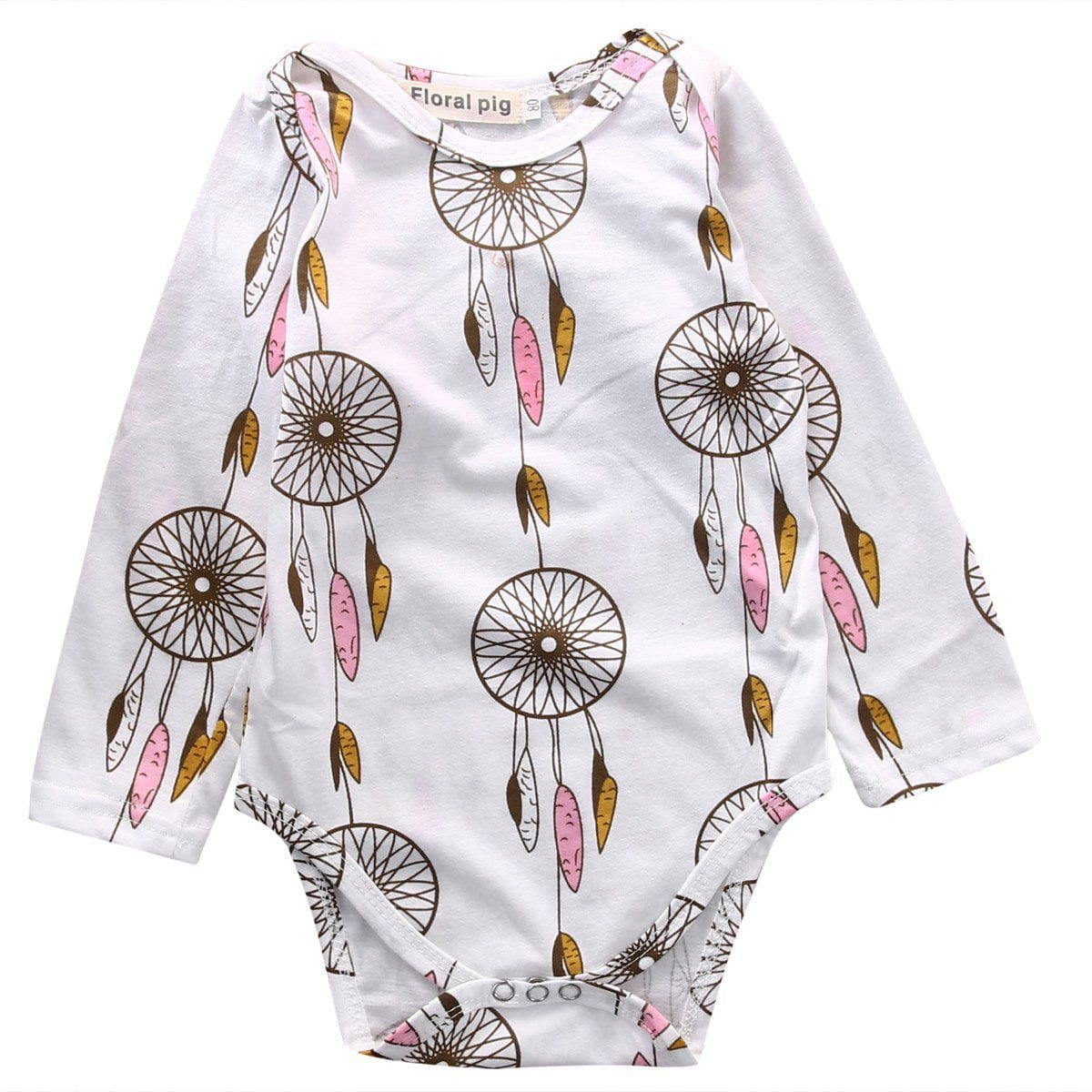 ff219da9ce4 Newborn Baby Cotton Romper Long Sleeve Colorful wind chimes Outfit