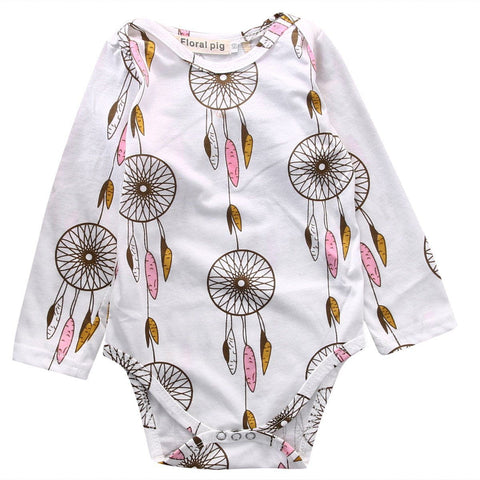 Newborn Baby Cotton Romper Long Sleeve Colorful wind chimes Outfit