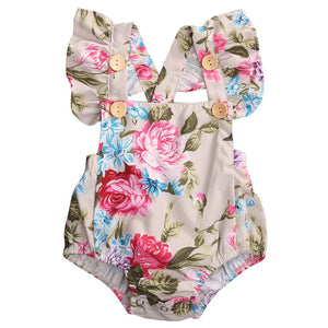 Summer Floral Newborn Baby Girl Clothes Floral Romper Ruffles Sleeve Toddler Kids Jumpsuit Outfits Sunsuit Halter Baby > Rompers and Jumpsuits - KidNappy