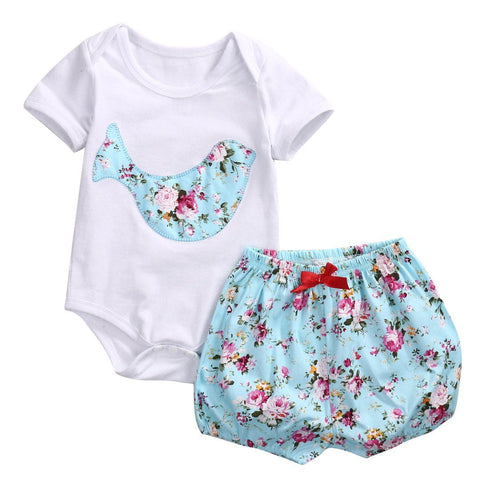 Girls Clothes Set Top Short Sleeve Deer Romper with Bloomers Shorts 2pcs Baby Outfit Baby > Rompers and Jumpsuits - KidNappy