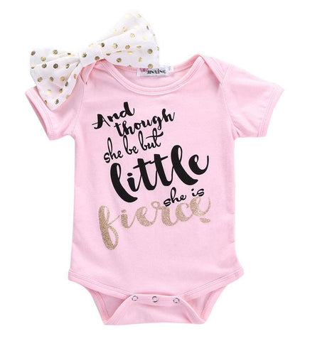 Though she is little she is fierce Romper Newborn Toddler Baby Girls Pink bow-knot Romper Short Sleeve Baby > Rompers and Jumpsuits - KidNappy