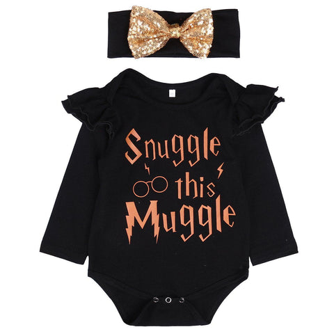 Snuggle this muggle romper Baby girls Romper set Long Sleeve Romper Jumpsuit with Headband Baby > Rompers and Jumpsuits - KidNappy