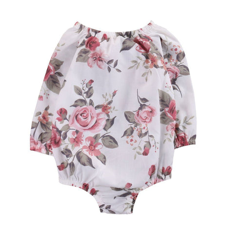 Spring Autumn Floral Long Sleeve Infant Baby Girl Kid  Romper Jumpsuit Cotton Outfit Sunsuit Baby > Rompers and Jumpsuits - KidNappy