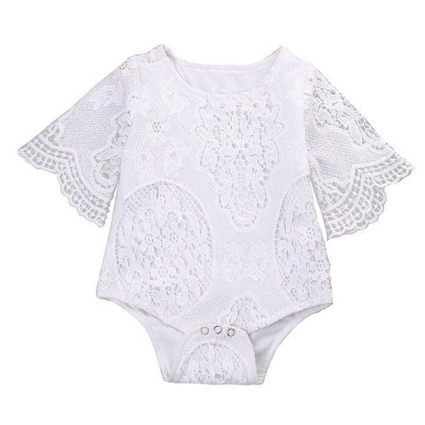 Lovely Gifts Baby Girls White  Romper Infant Lace ruffles Sleeve Baby > Rompers and Jumpsuits - KidNappy