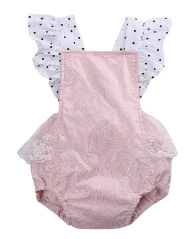 Cotton Newborn Infant Baby Girls Sleeveless Pink Lace Romper backless Jumpsuit Clothes Sunsuit Outfits Baby > Rompers and Jumpsuits - KidNappy