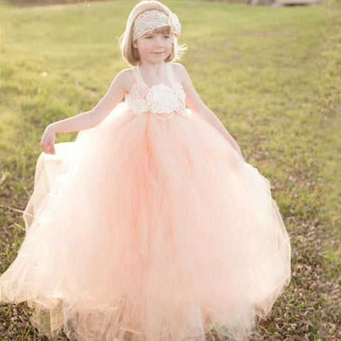 Flower Girl Dress Kids Lace Tutu Dress Wedding Birthday Party Pageants Baby girl Party Dress Girl > Party Wears > Tutu Gowns - KidNappy