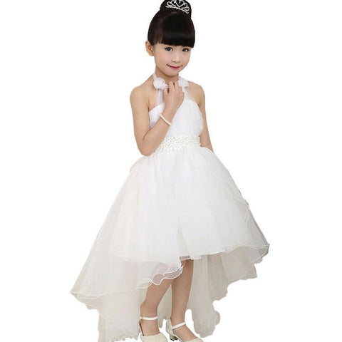 Wedding Bridesmaid Flower Girl Dress for Kids White Party Tutu Dresses for Girl
