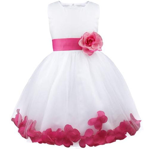 Kids Infant Girl Flower Petals Dress Children Bridesmaid Toddler Elegant Dress Pageant Vestido Infantil Tulle Formal Party Dress Girl > Party Wears > Tutu Gowns - KidNappy