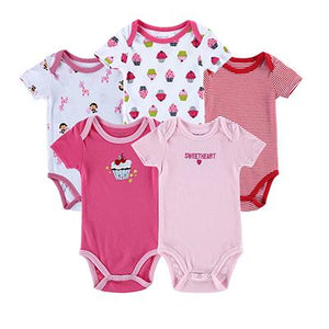 5PCS/Set Bodysuit Summer Cotton Baby Toddler Short Sleeved Romper Baby > Rompers and Jumpsuits - KidNappy