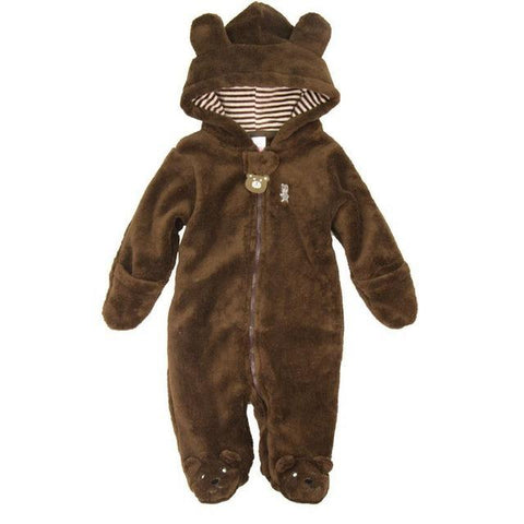 Winter Baby Overalls Bear style baby coral fleece Hooded Jumpsuit baby Onesie