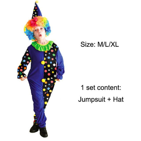 Halloween Costumes Kids Unisex Circus Clown Costume Blue Color