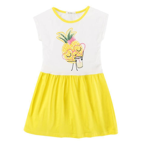 Cotton Girls Dress Pineapple Children Clothing Summer Toddler Casual Dress Girl > dresses - KidNappy