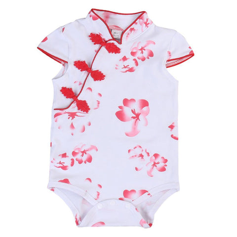 Newborn Infant Baby Girl Red Floral Romper Outfit 0-18M Clothes