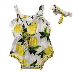 Baby Girl Summer lemon Romper with headband Sleeveless Backless Sunsuit Baby > Rompers and Jumpsuits > Fruits - KidNappy