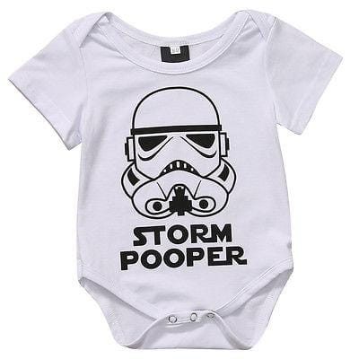 Baby Storm Pooper Romper Short Sleeve Storm pooper Sunsuit 0-18M Baby > Rompers and Jumpsuits - KidNappy