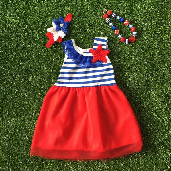 baby girl summer dress 4th of July dress with matching headband and necklace Girls Patriotic Dress Girl > Dresses - KidNappy