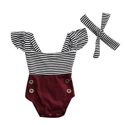 Summer Newborn Kids Baby Infant Girl Striped Pacthwork Cotton Romper Jumpsuit Clothes Outfit Set Baby > Rompers and Jumpsuits - KidNappy