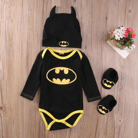 Cool Batman Infant Baby Boys Romper+Shoes+Hat 3pcs Outfits Long Sleeved Romper Baby > Rompers and Jumpsuits - KidNappy