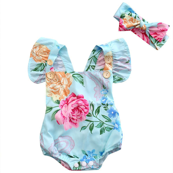 Summer Newborn Infant Baby Girl Floral Button Romper Backcross Jumpsuit Clothes Outfits Sunsuit Clothing Baby > Rompers and Jumpsuits - KidNappy