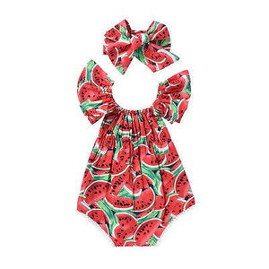 Baby Girls Watermelon Butterfly sleeves Romper +Headband Baby > Rompers and Jumpsuits > Fruits - KidNappy
