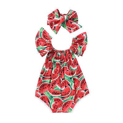 Baby Girls Watermelon Butterfly sleeves Romper +Headband Baby > Rompers and Jumpsuits - KidNappy
