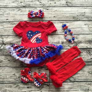 new hot baby Kids 4th of July Patriotic petticoat May Memorial day outfit with accessories baby girl fourth of july outfits