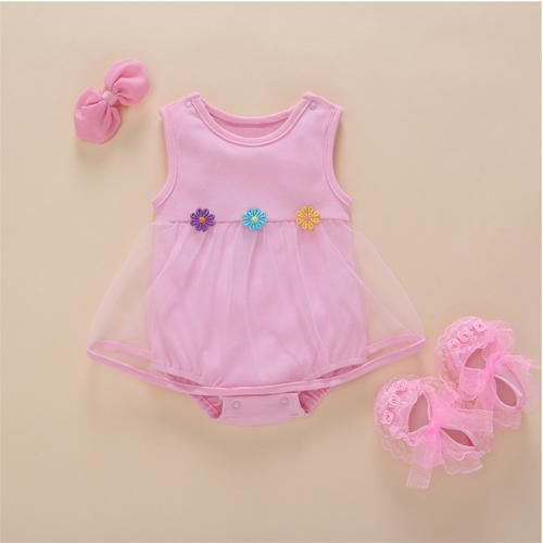 baby girl clothes 1st birthday baby bodysuit dress solid color sleeveless summer lace Tulle Ruffles girls clothes 0 3 6 9 months Baby > Rompers and Jumpsuits - KidNappy