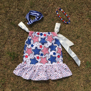 Hot Selling baby girls dress 4th of July dress with matching headband and necklace