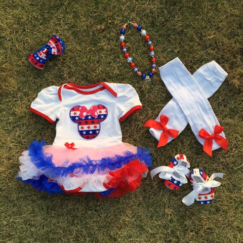 baby Kids 4th of July romper Minnie pettidress Patriotic dress with accessories May Memorial day outfits Girl > Dresses - KidNappy