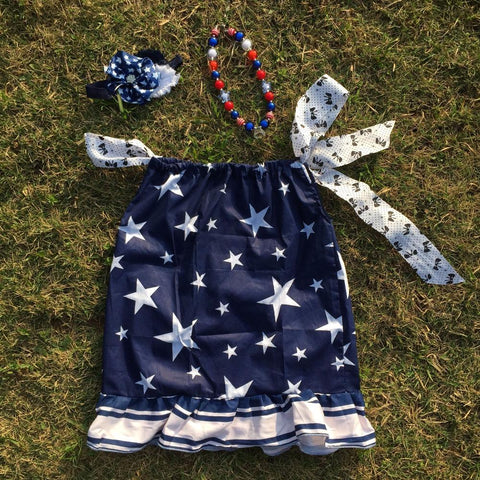 4th of July dress with matching headband and necklace Baby star print Girl Patriotic Dress Girl > Dresses - KidNappy