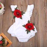 Newborn Baby Girl Clothes 3D Rose Flower Backless Romper Back Cross Jumpsuit  Sunsuit