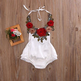 Summer Newborn Baby Girl Belt Hanging neck 3D rose flowers Romper Sleeveless Belt Jumpsuit Sunsuit Clothes Baby > Rompers and Jumpsuits - KidNappy