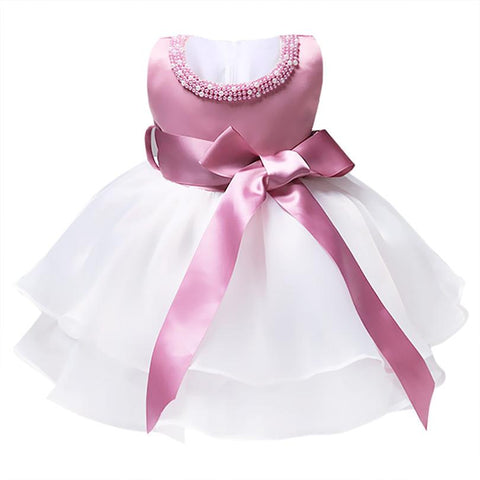 Kids Infant Girls Toddler Flower Pearl Neck Wedding Bridesmaid Formal Pageant Ball Gown TuTu Dress Girl > Party Wears > Tutu Gowns - KidNappy
