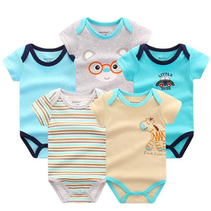 5 PCS Baby Rompers Summer Baby Clothing Set Cartoon Infant Newborn Baby Overall Jumpsuit Baby > Rompers and Jumpsuits - KidNappy