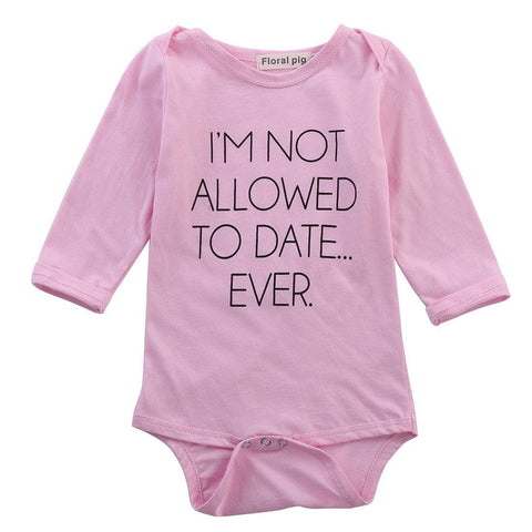 I'm not allowed to date Romper Short sleeve Cotton baby Girls Rompers Pink Color