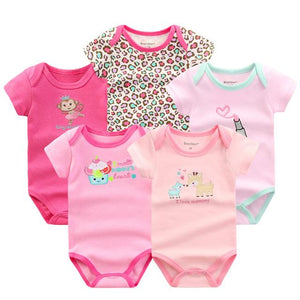 Baby 5 Piece Newborn Short Sleeve Cotton Baby Rompers Baby > Rompers and Jumpsuits - KidNappy